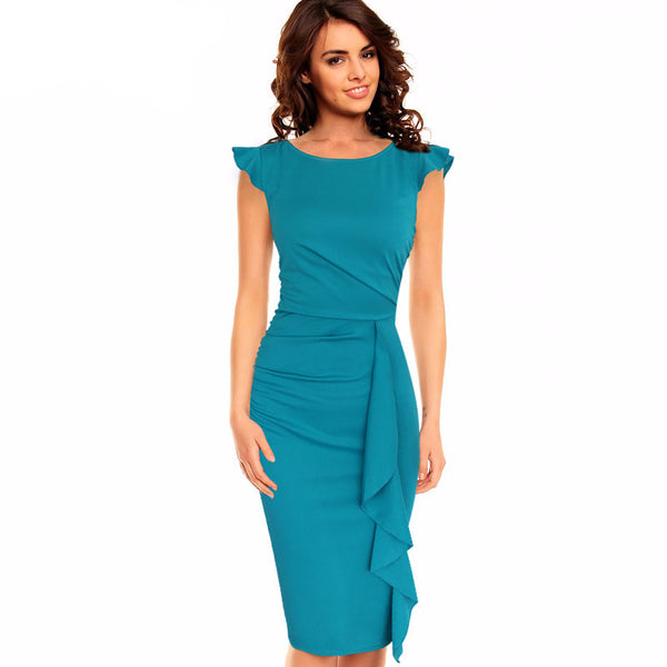 Ruffles Slim Pencil Dress