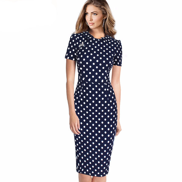 Elegant Vintage Polka Dot Pencil Dress