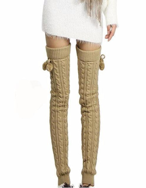 Solid Crochet Knitted Thigh High Leg Warmers