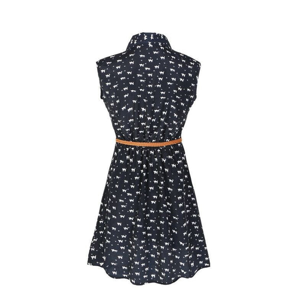 Footprints Pattern Casual Dress
