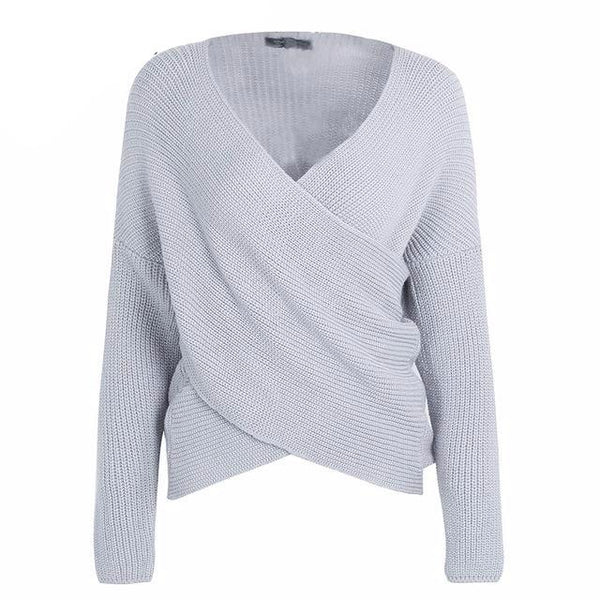 V neck cross sweater