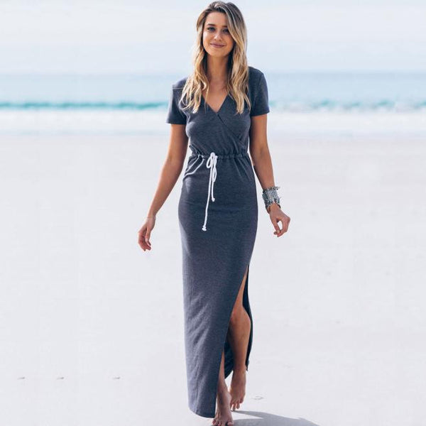 Short Sleeve Long Beach Dresses