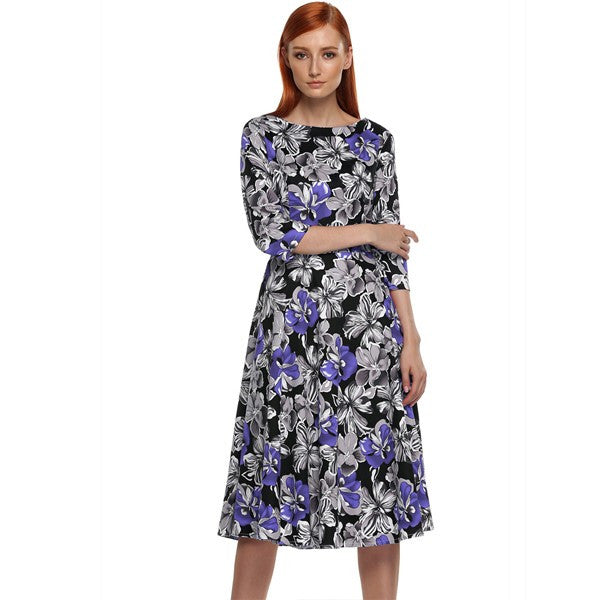 3/4 Sleeve Floral Swing Party Dress