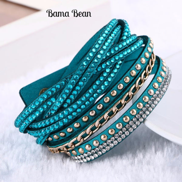 Fashion leather bracelet Multilayer Bracelets & Bangles Rivet Bracelet