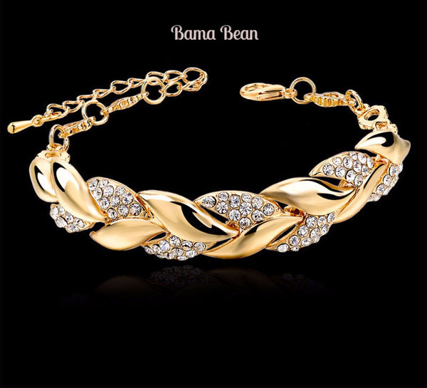 Braided Gold Leaf Bracelets & Bangles With Stones Luxury Crystal Bama Bean