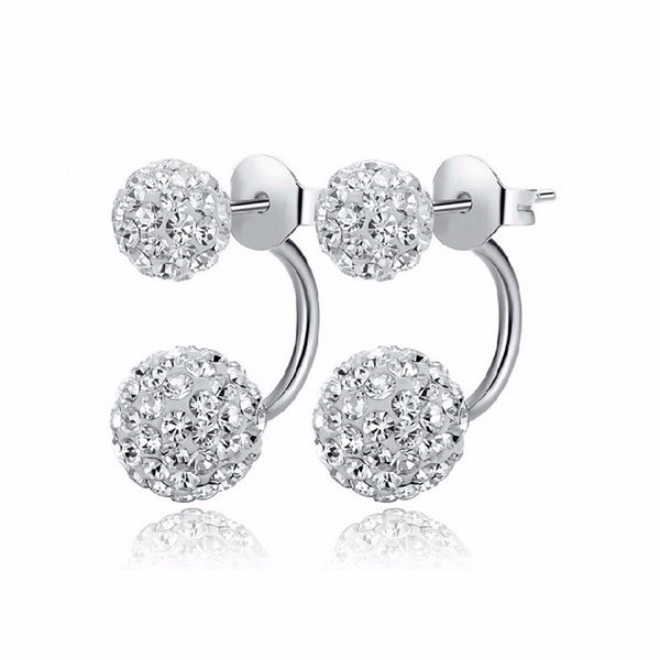 Double Sided Crystal Ball Stud Earrings