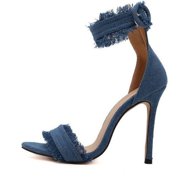 Denim High Heeled Sandals