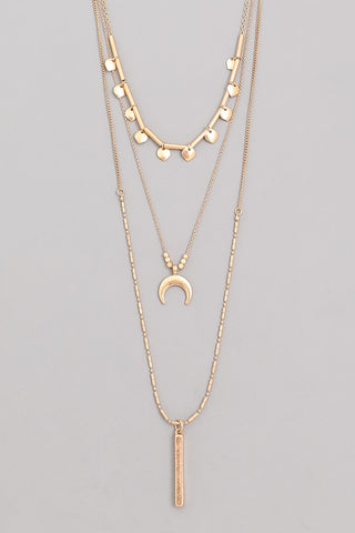 Triple Layer Moon Necklace