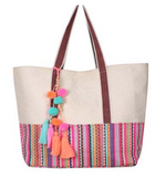 Golden Oak Pom Pom Tassel Beach Bag