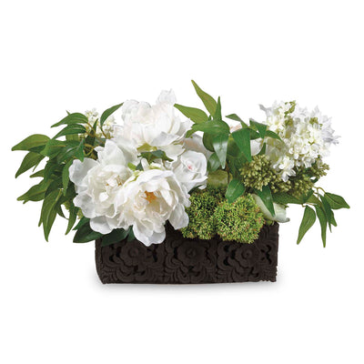Ivory Silk Lilac and Peony Arrangement - Silk