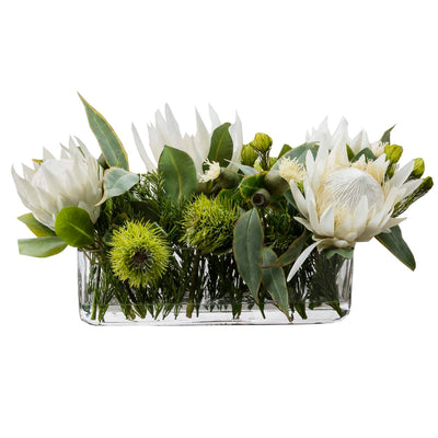 Cream Silk Protea and Eucalyptus Arrangement - Silk