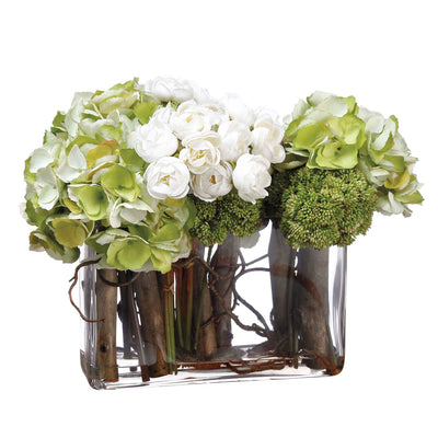 Hydrangea, Willow, and Ivory Ranunculus Arrangement - Silk