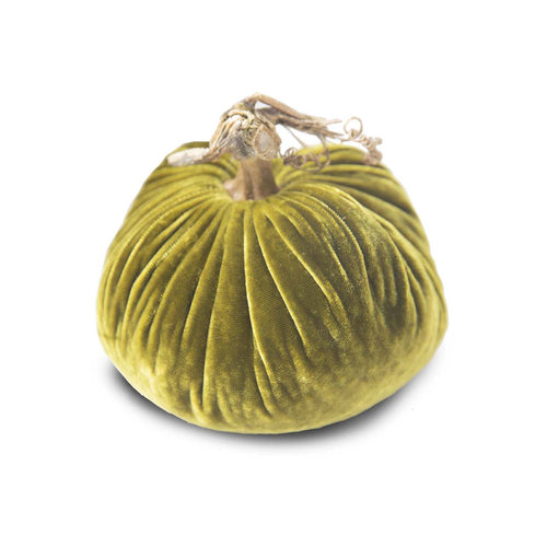 Small Sage Velvet Pumpkin 5""