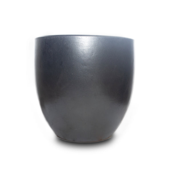 "Glazed Egg Pot 10"" Graphite"