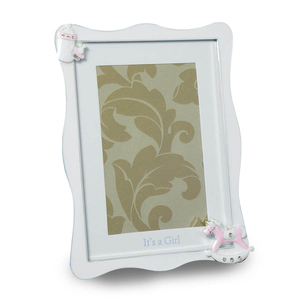 WHITE AND PINK PHOTO FRAME FOR BABY