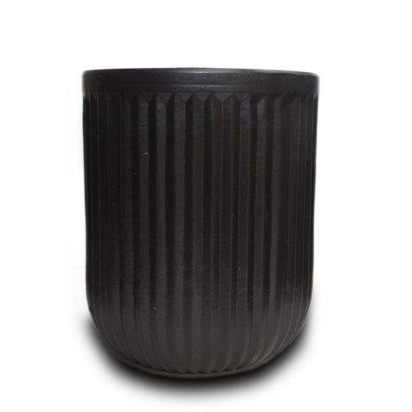 "Tall Vertical Line Pot 12"" Blk"