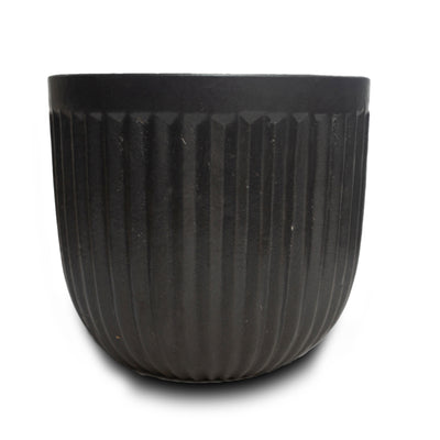 "Vertical Line Pot 7"" Blk"