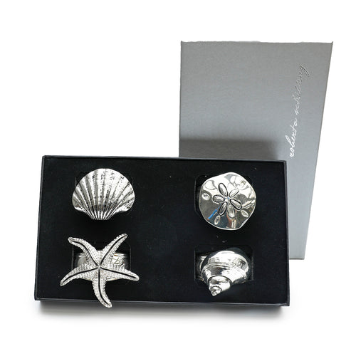 Silver Seashells Napkin Rings - Set of 4