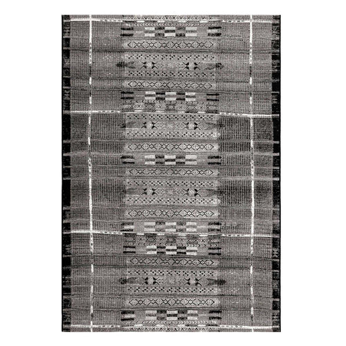 "7'11"" X 9'10"" Tribal Stripe Silver Outdoor Rug"