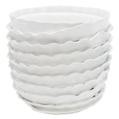 White Ruffle Pot