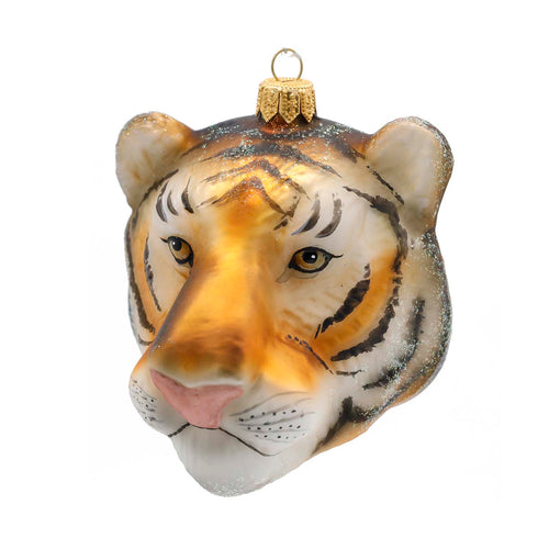 TIGER HEAD GLASS ORNAMENT