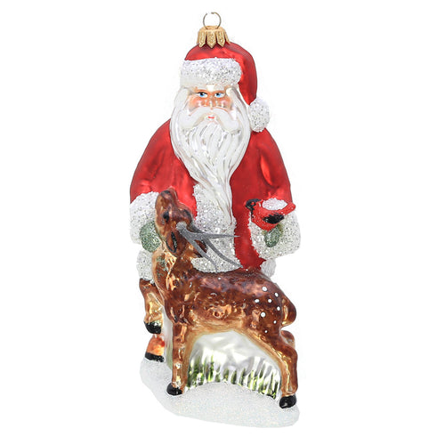 GLASS FOREST SANTA ORNAMENT
