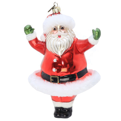 RETRO GLASS SANTA ORNAMENT