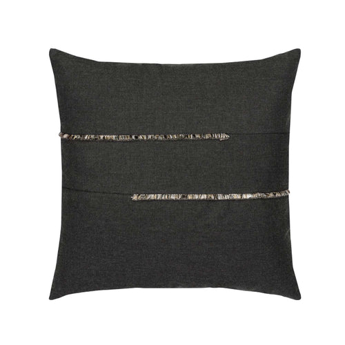 "20""x 20"" Micro Fringe Carbon Outdoor Pillow"