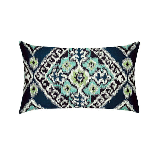 "12"" x 20"" Ikat Diamond ""Peacock"" Outdoor Lumbar Pillow - Pre-Order Only"