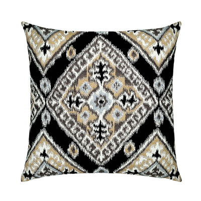 "22""x 22"" IKAT Diamond Onyx Outdoor Pillow"