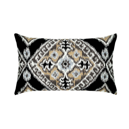 "12""x 20"" Ikat Diamond ""Onyx"" Outdoor Lumbar Pillow- Pre-Order Only"