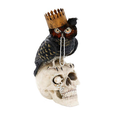 Hand Painted Halloween Skull With Feathered Owl