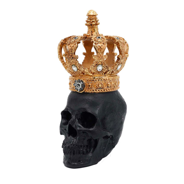 Black Halloween Skull with Gold Crown