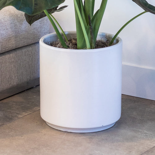 "CERAMIC POT 13"" WHITE"
