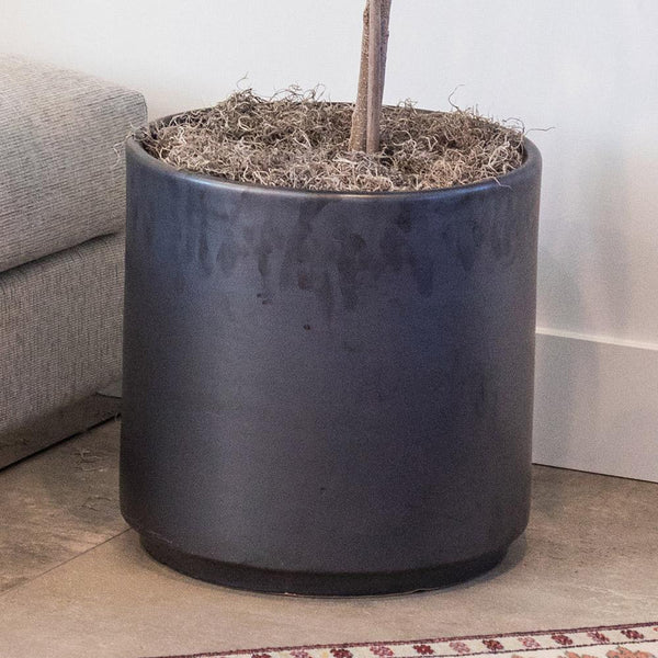 "CERAMIC POT 16"" GRAPHITE"