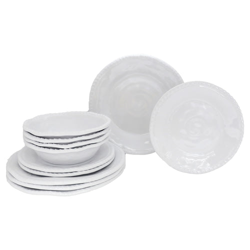 12 Piece White Jute Outdoor Melamine Dinnerware Set