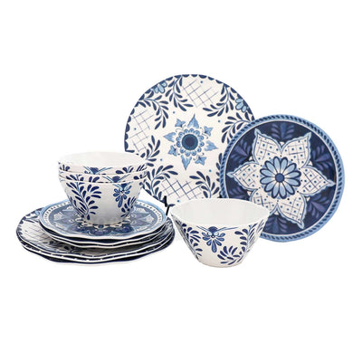 12 Piece Cobalt Casita Melamine Dinnerware Set