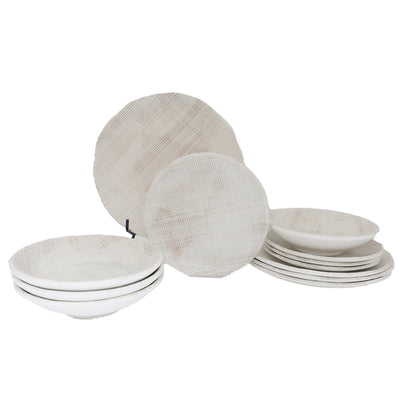 12 Piece Papyrus Cloth Outdoor Melamine Dinnerware Set