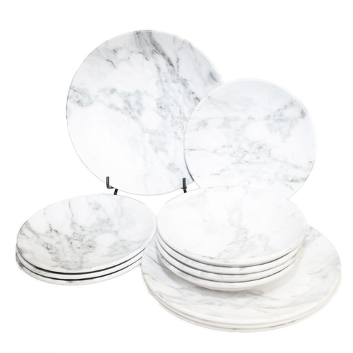 12 Piece Carrera Marble Outdoor Melamine Dinnerware Set