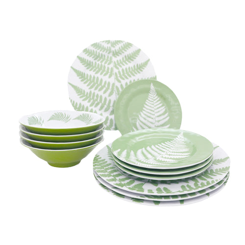 12 Piece Mod Fern Outdoor Melamine Dinnerware Set