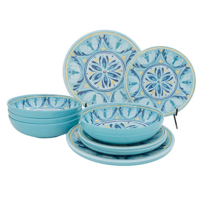 12 Piece Medallion Outdoor Melamine Dinnerware Set