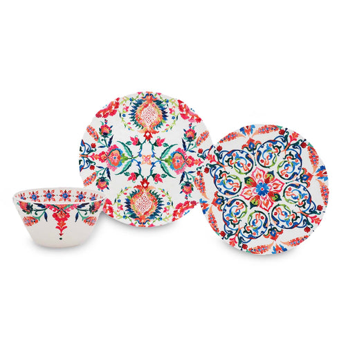 12 Piece Floral Boho Outdoor Melamine Dinnerware Set