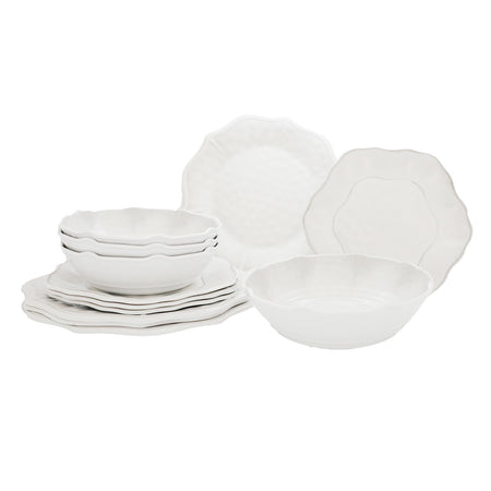 12 Piece Gradient Gray Outdoor Melamine Dinnerware Set