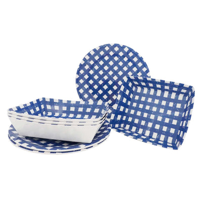 8 Piece Navy Gingham Grilling Outdoor Serveware Set