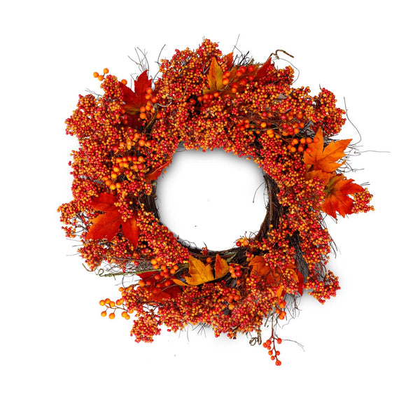 "24"" Bittersweet & Maple Leaf Fall Silk Wreath"