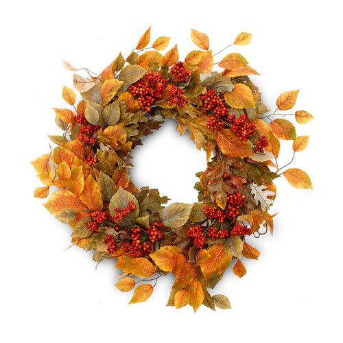"24"" Aspen Leaf  & Berry Fall Silk Wreath"