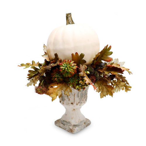 Fall Cream Pumpkin Silk Centerpiece