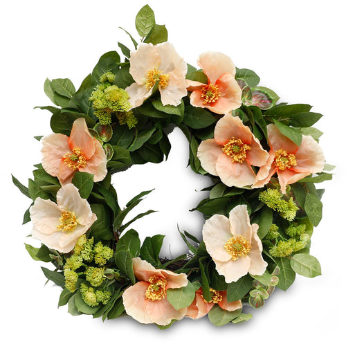 POPPIES ON LEMON LEAF WREATH