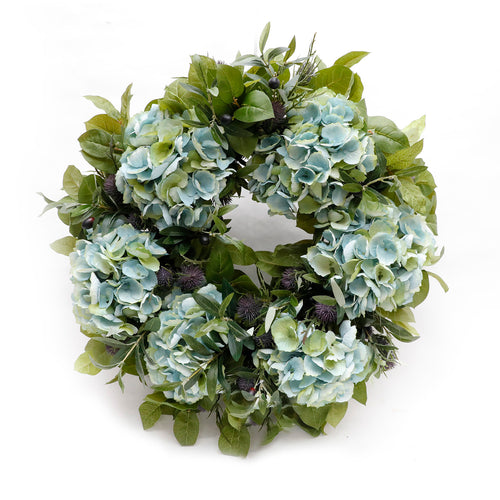HYDRANGEA & THISTLE WREATH - SILK