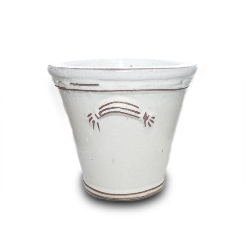 Sm Fluted Handle Planter White